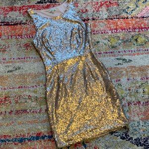 Charlotte Russe Gold Sequin Dress - M